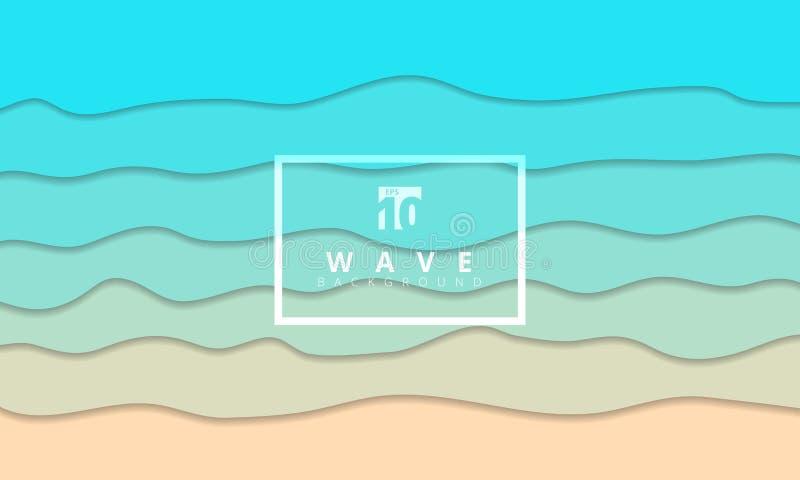 Стиль отрезка бумаги предпосылки берега моря абстрактной волны лета голубой иллюстрация штока
