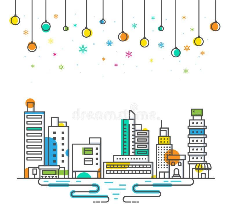 Стиль плана праздника фестиваля рождества города вектора, концепция торжества зимы бесплатная иллюстрация