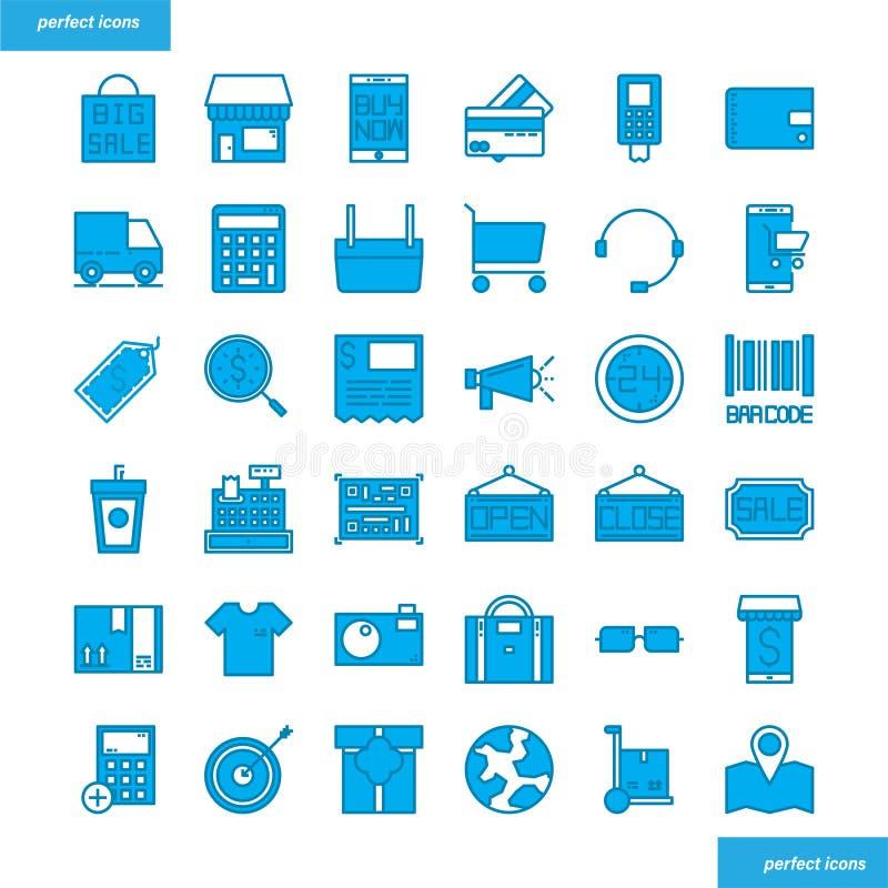 Стиль покупок и Ecommerce голубыми установленный значками иллюстрация вектора
