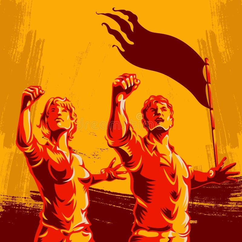 Стиль предпосылки пропаганды плаката революции людей и женщин стоковые изображения rf