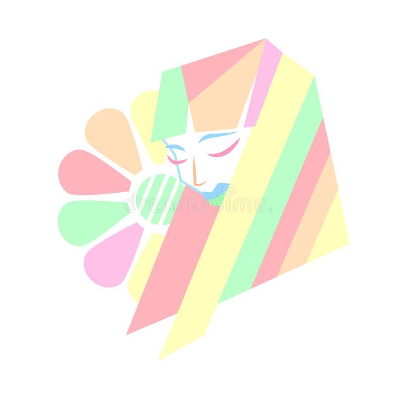 Стиль причесок красоты пастельных цветов геометрический иллюстрация вектора