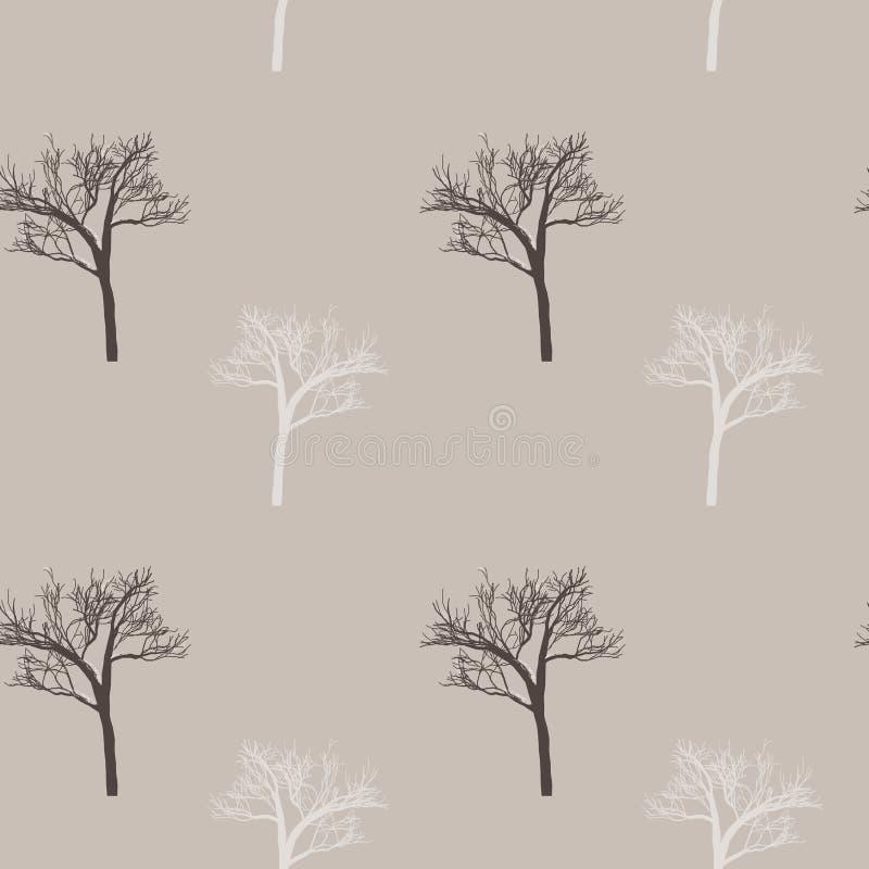 Стиль Провансали: безшовная картина в милых деревьях на мешковине любящей Печать зимы для ткани, производства ткани, обоев, покры иллюстрация штока