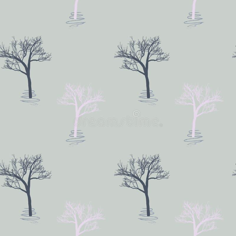 Стиль Провансали: безшовная предпосылка в милых деревьях на естественном сером учреждении Печать для тканей, продукция зимы ткани иллюстрация вектора