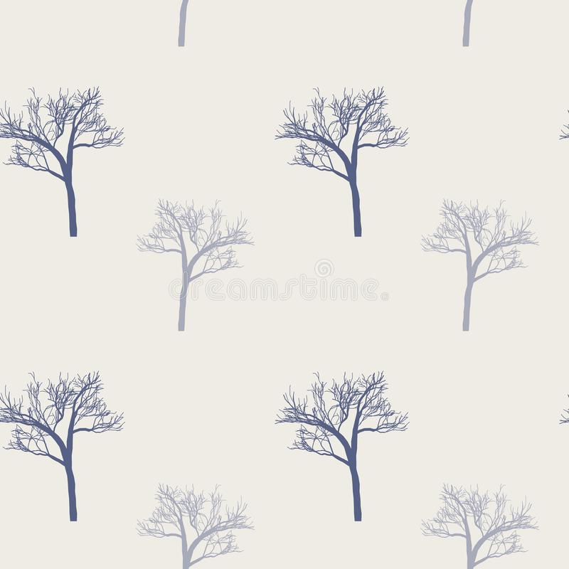 Стиль Провансали: безшовная предпосылка в милых деревьях на естественном розовом учреждении Печать для тканей, продукция зимы тка иллюстрация вектора