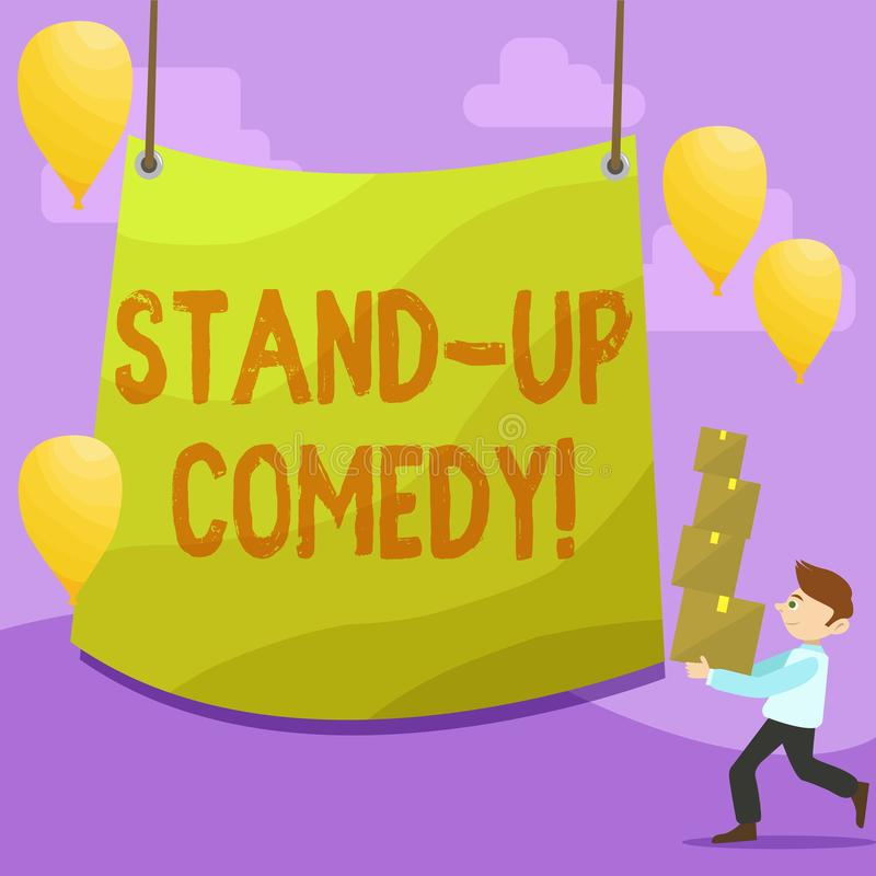 Сочинительство текста почерка стоит вверх комедия Стиль смысла концепции шуточный в котором комедийный актер выполняет переднего  бесплатная иллюстрация