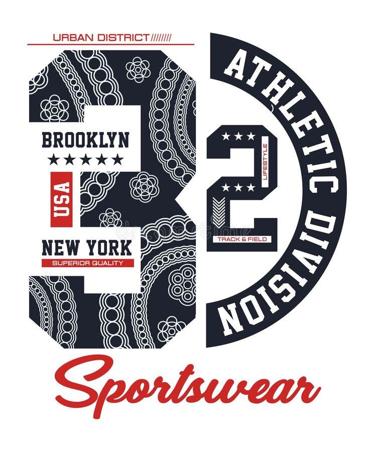 Стиль университетской спортивной команды, оформление атлетического спорта Нью-Йорка Бруклина для печати футболки бесплатная иллюстрация