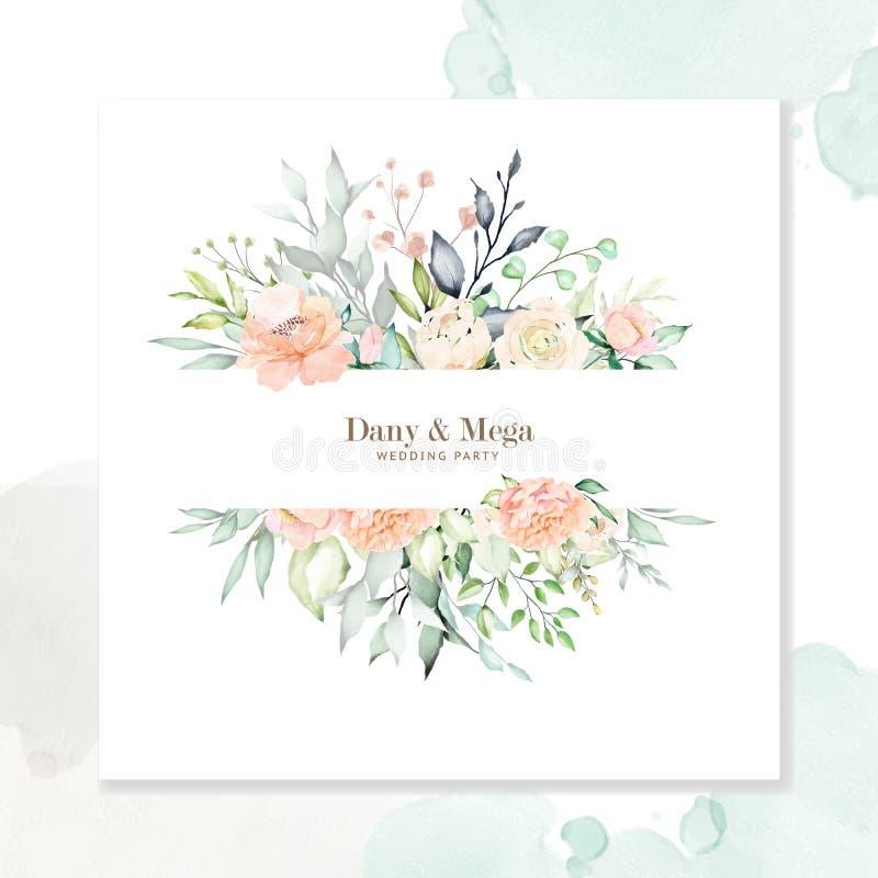 Стиль флористических и листьев свадьбы приглашения карты акварели стоковые изображения rf