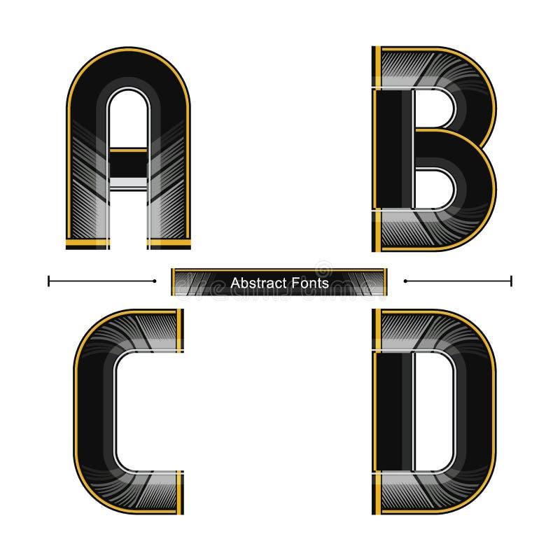 Стиль цвета алфавита современный абстрактный черный в наборе ABCD иллюстрация вектора