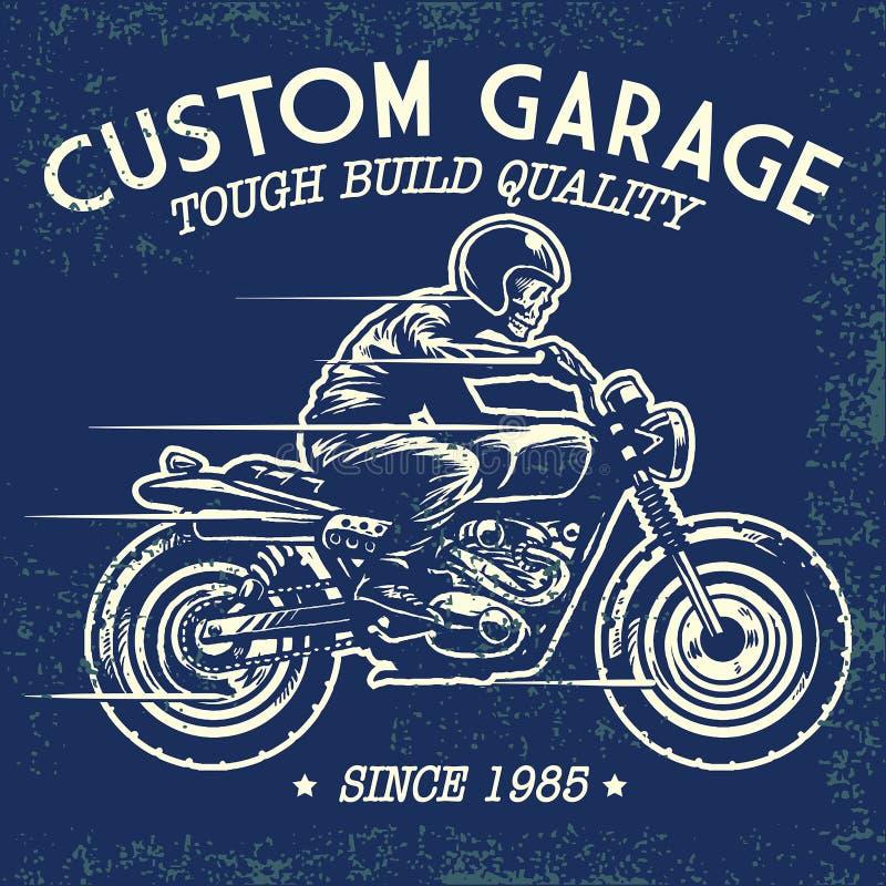 Стиль чертежа руки езды черепа мотоцикл бесплатная иллюстрация