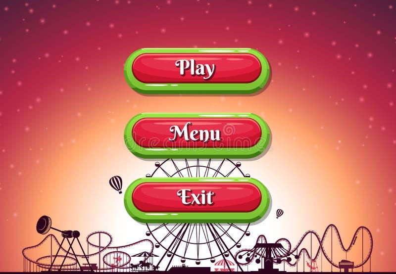Стиль шаржа вектора оконтурил кнопки с текстом для игрового дизайна на предпосылке парка атракционов бесплатная иллюстрация