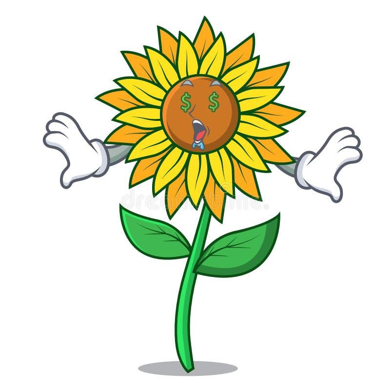 Стиль шаржа талисмана солнцецвета глаза денег иллюстрация штока