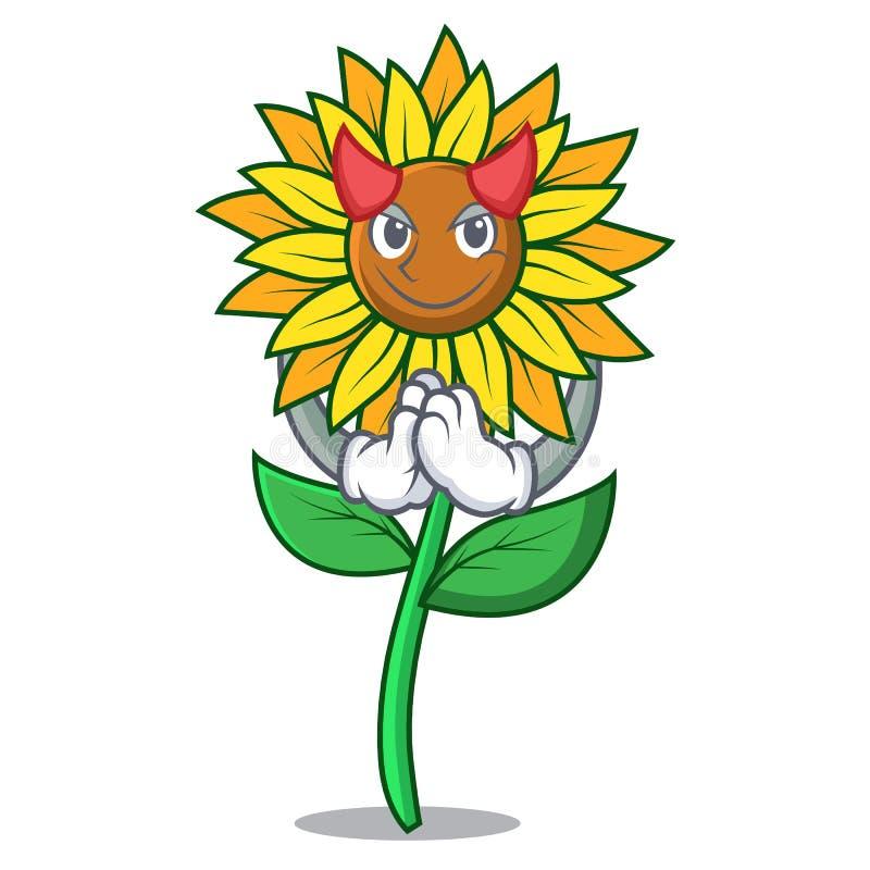 Стиль шаржа талисмана солнцецвета дьявола бесплатная иллюстрация