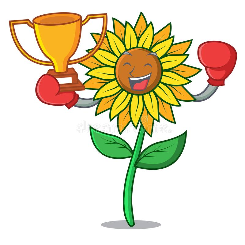 Стиль шаржа талисмана солнцецвета победителя бокса иллюстрация штока