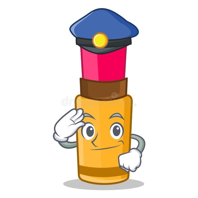 Стиль шаржа характера губной помады полиции иллюстрация вектора