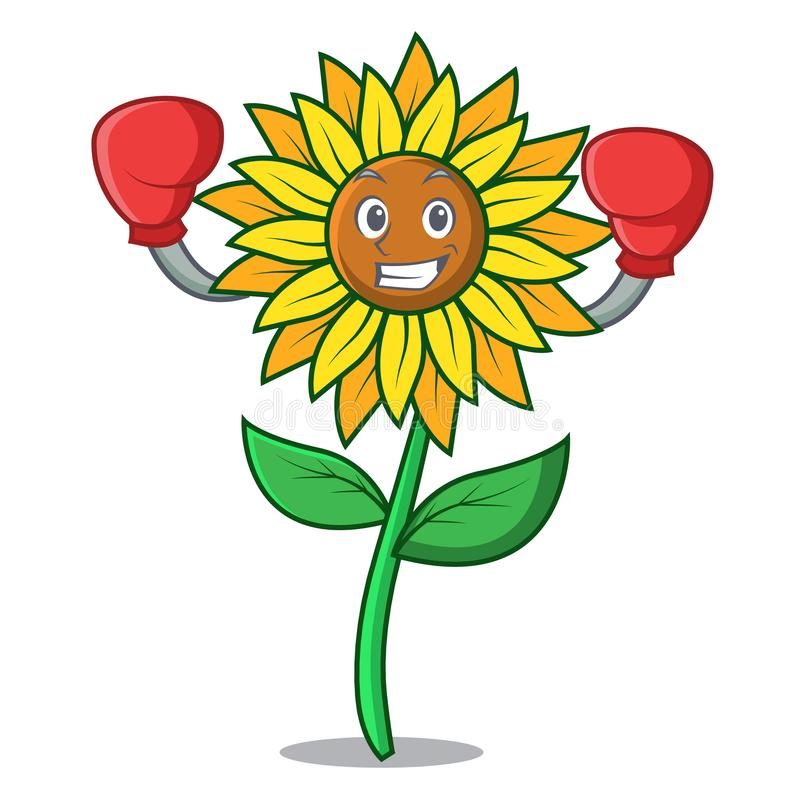 Стиль шаржа характера солнцецвета бокса иллюстрация вектора