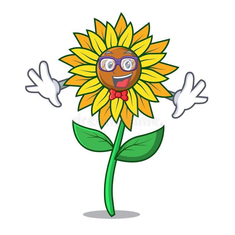 Стиль шаржа характера солнцецвета идиота иллюстрация штока
