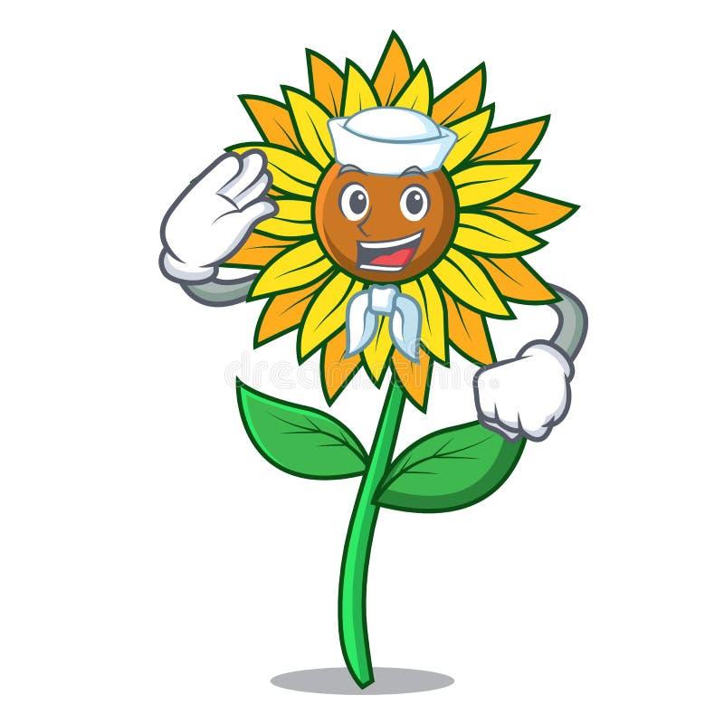 Стиль шаржа характера солнцецвета матроса бесплатная иллюстрация