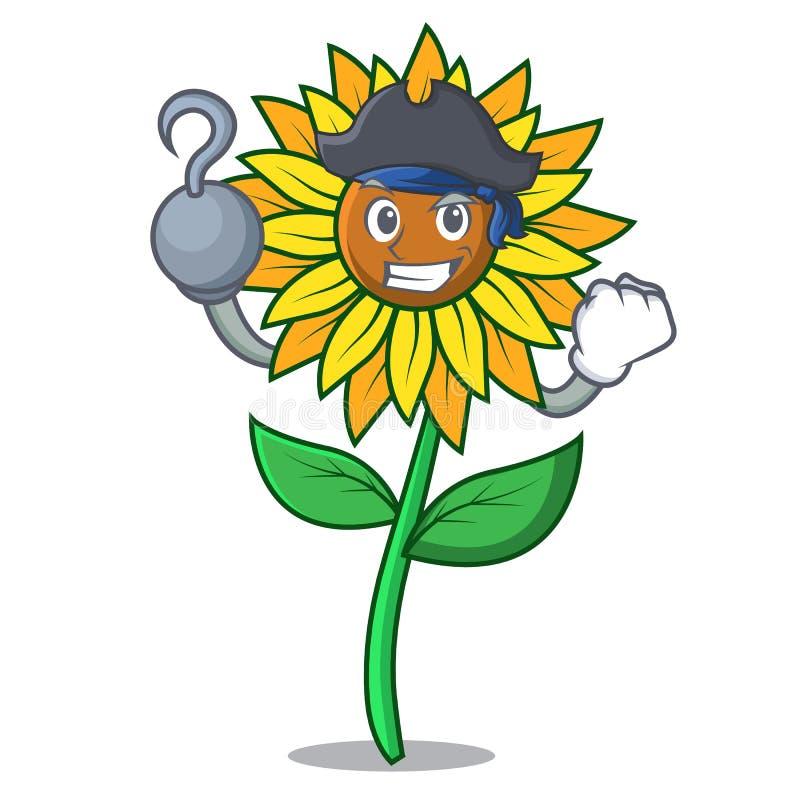 Стиль шаржа характера солнцецвета пирата бесплатная иллюстрация
