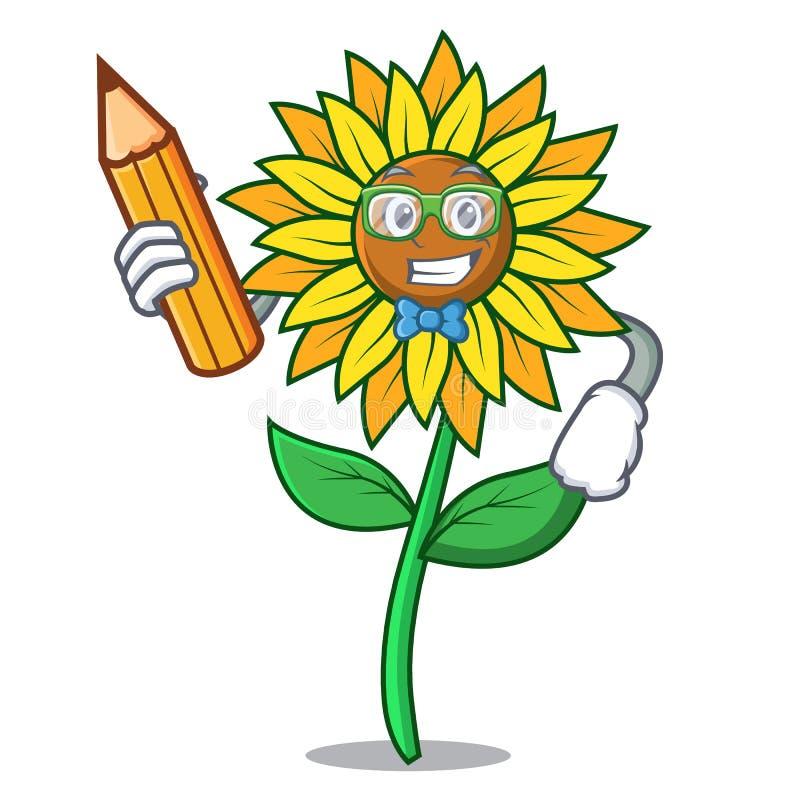Стиль шаржа характера солнцецвета студента иллюстрация штока