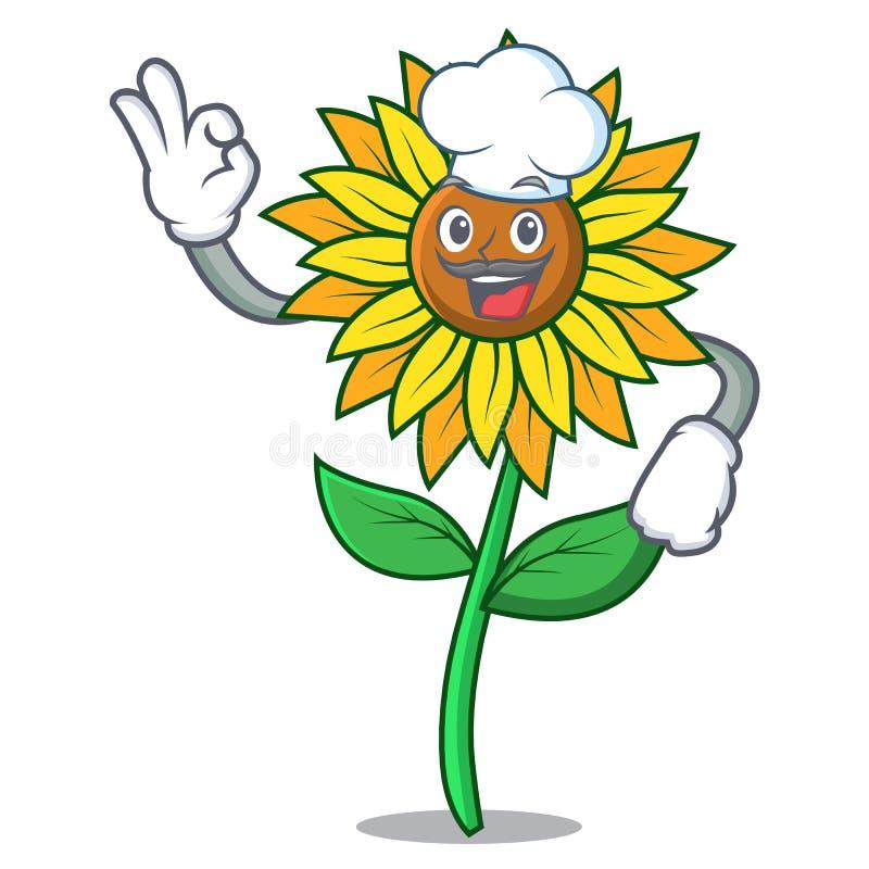 Стиль шаржа характера солнцецвета шеф-повара бесплатная иллюстрация