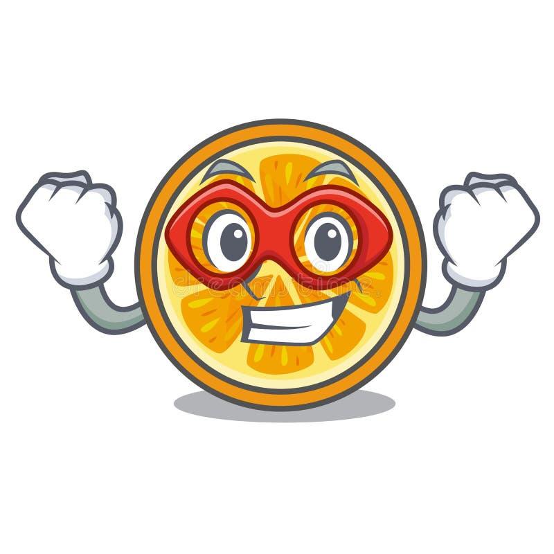 Стиль шаржа характера супергероя оранжевый иллюстрация вектора