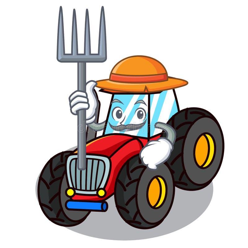 Стиль шаржа характера трактора фермера иллюстрация штока