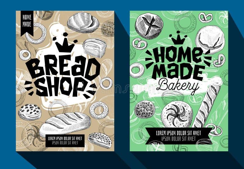 Стиль эскиза комплекта карточек хлебопекарни плаката еды Современное собрание упаковывая, плакаты элементов эскиза, дизайн карточ иллюстрация штока