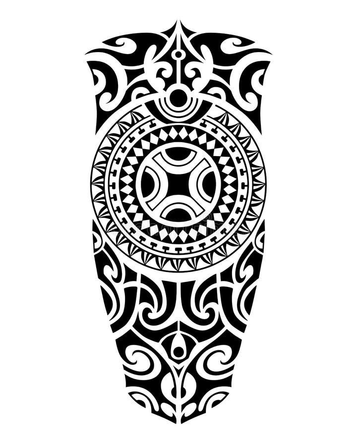 Стиль эскиза татуировки маорийский для ноги или плеча иллюстрация вектора