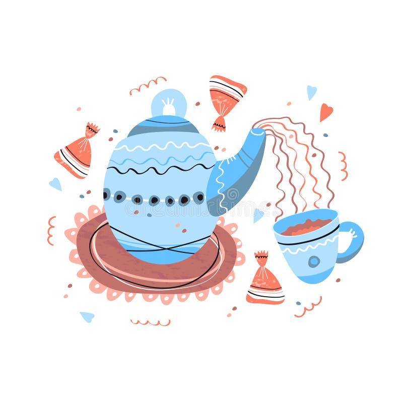 Стиль clipart конфеты чашки чая чайника скандинавский бесплатная иллюстрация