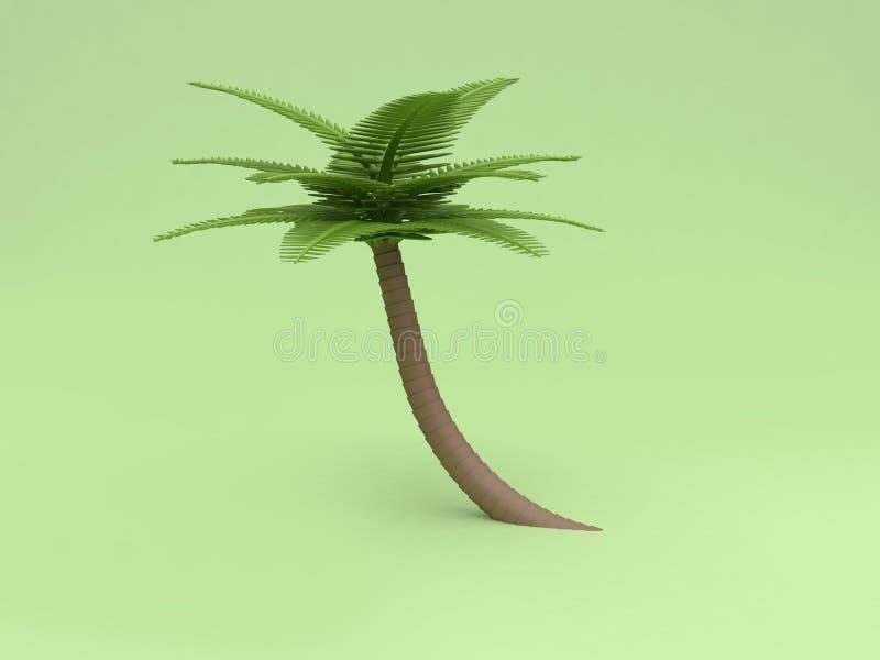 стиль 3d мультфильма кокосовой пальмы 3d низкий поли представить зелену бесплатная иллюстрация