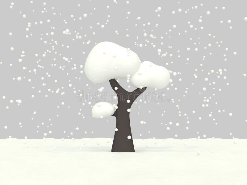 стиль 3d мультфильма низкого поли дерева 3d идя снег представляет концепцию зимы иллюстрация вектора