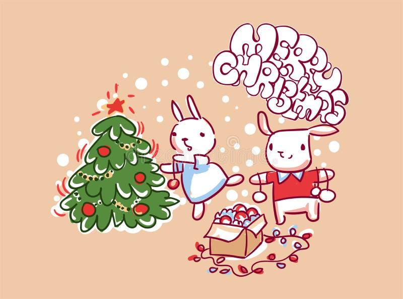 Стиль doodle рождественской открытки украшения пар зайчика бесплатная иллюстрация