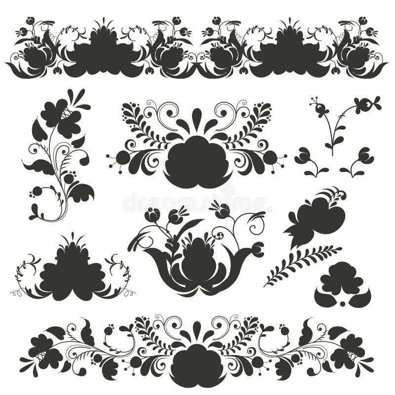 Стиль gzhel искусства орнаментов русского покрашенный с вектором картины ветви цветеня черного цветка силуэта традиционным фолькл иллюстрация вектора