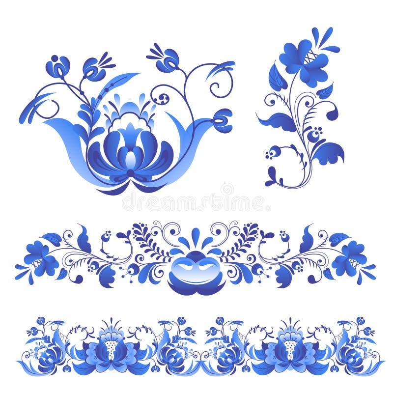Стиль gzhel искусства орнаментов русского покрашенный с синью на векторе картины ветви цветеня белого цветка традиционном фолькло иллюстрация вектора