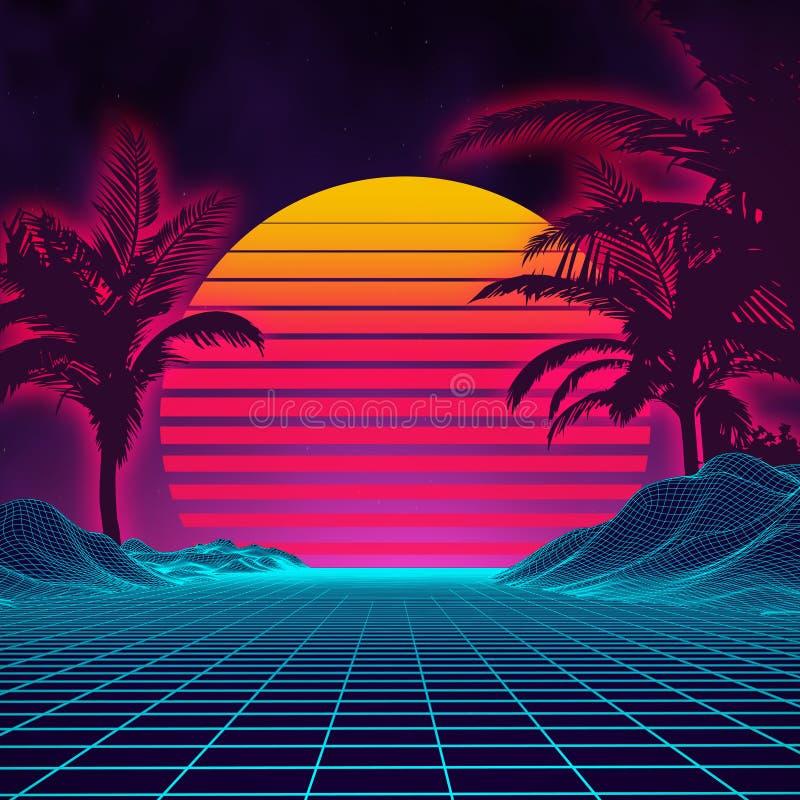 Стиль 1980s ландшафта ретро предпосылки футуристический Поверхность кибер ландшафта цифров ретро предпосылка партии 80s ретро иллюстрация вектора