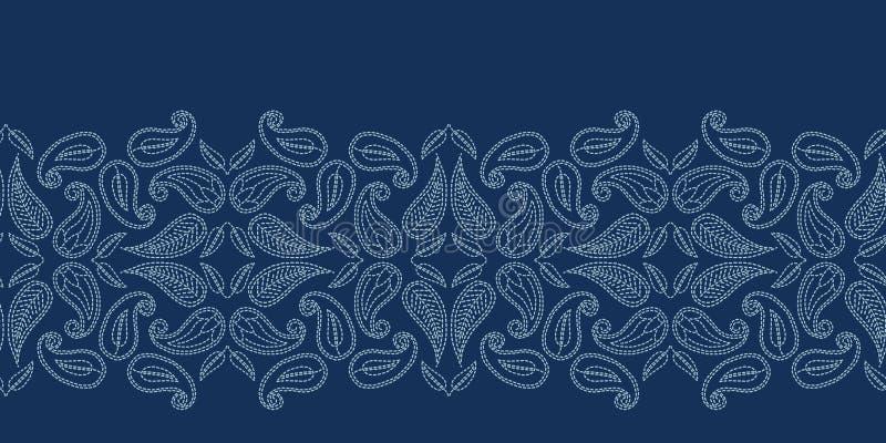 Стиль sashiko мотива Пейсли флористических лист Картина вектора границы японского needlework безшовная Foulard boteh сини индиго  бесплатная иллюстрация