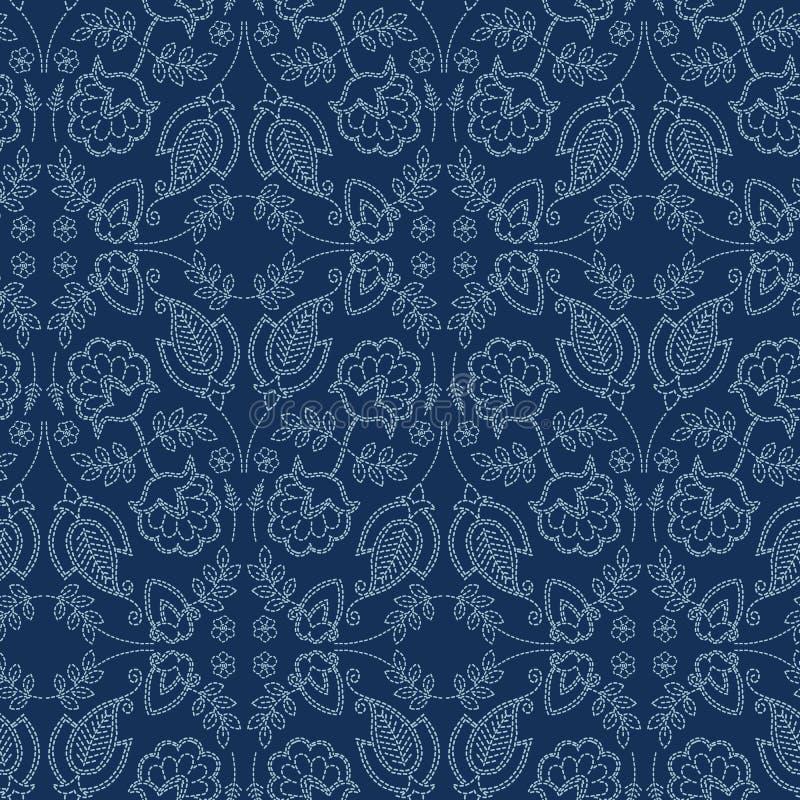Стиль sashiko мотива штофа флористических лист r Печать ткани шнурка сини индиго стежком руки иллюстрация вектора