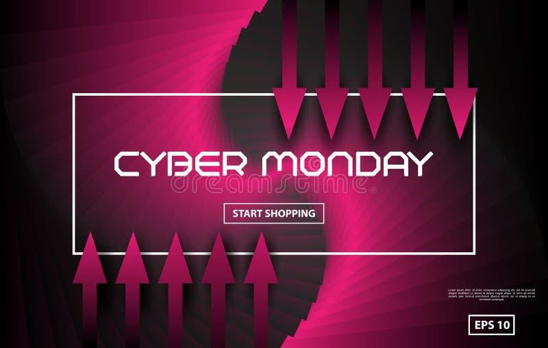 Стиль techno вектора продажи понедельника кибер Черная и красная абстрактная предпосылка с красными стрелками вектор бесплатная иллюстрация