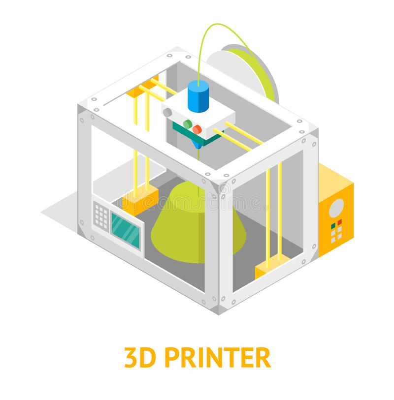 стиля дизайна принтера 3d взгляд плоского равновеликий вектор иллюстрация вектора