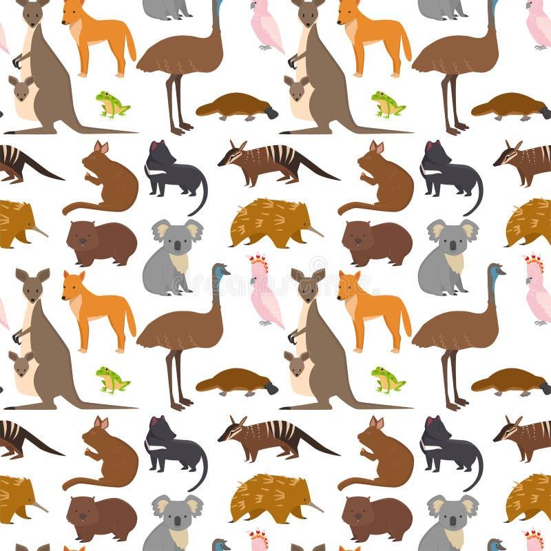 Стиля предпосылки картины характеров природы шаржа диких животных Австралии вектор собрания популярного безшовного плоского млеко иллюстрация вектора