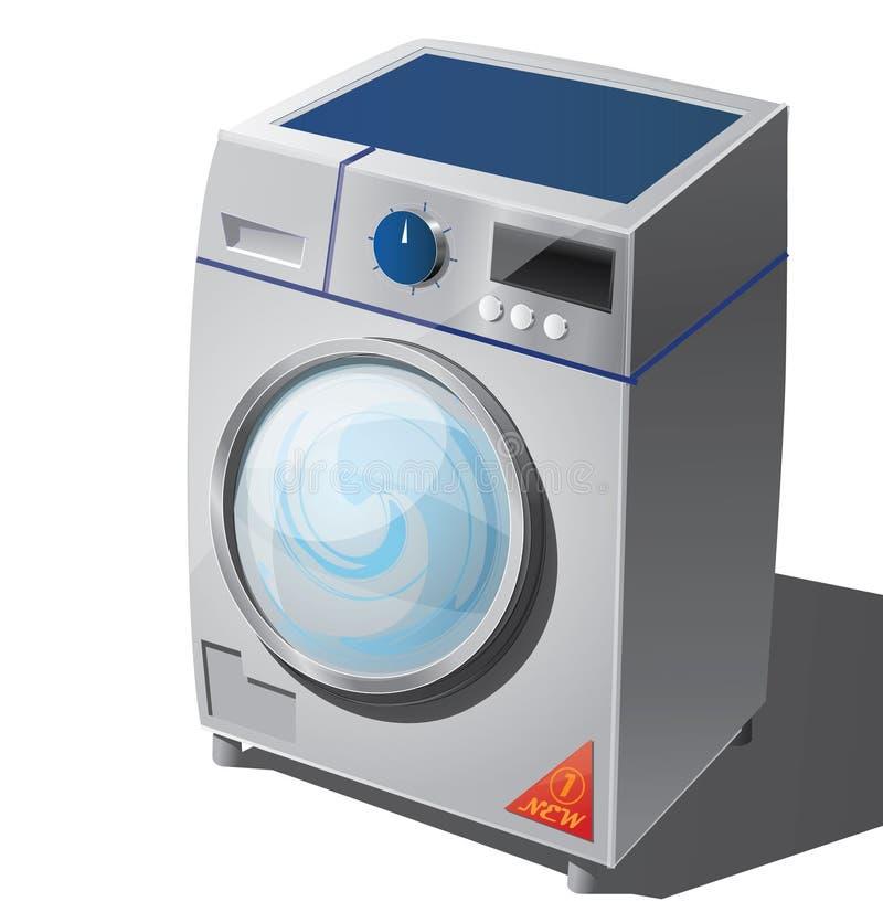 Стиральная машина с лоснистым красным стикером иллюстрация вектора
