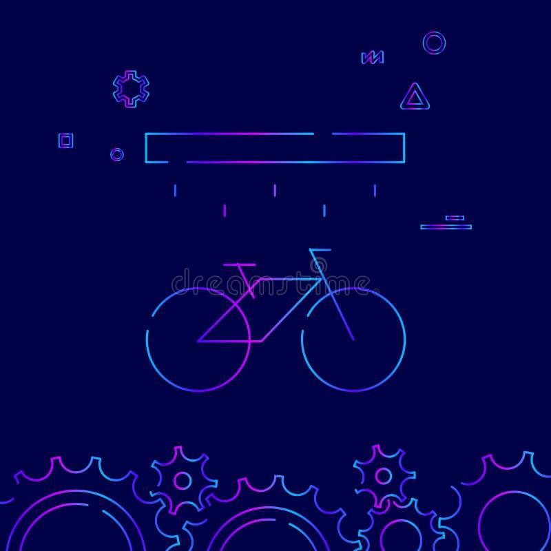 Стирка велосипеда или велосипеда, линия значок вектора станции мытья, символ, знак на темно-синей предпосылке Родственная нижняя  бесплатная иллюстрация
