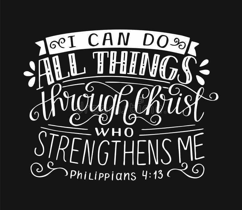 Стих библии с литерностью руки я могу сделать все вещи через Христос, который усиливает меня на черной предпосылке иллюстрация вектора