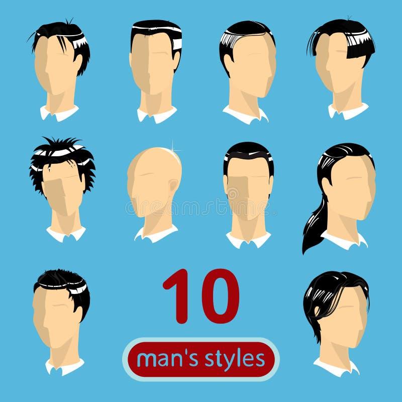 10 стилей причёсок людей стоковое фото rf