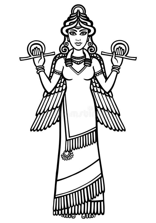 Стилизованная богиня Ishtar Характер Sumerian мифологии полный рост иллюстрация штока