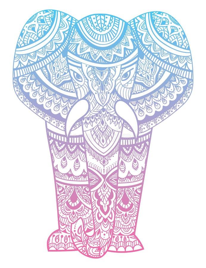 Стилизованная голова слона Орнаментальный портрет слона Цвет рисуя вручную индийско мандала вектор иллюстрация вектора