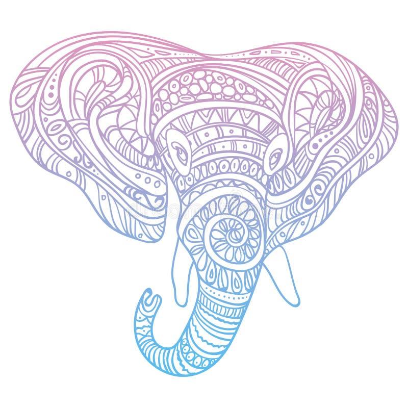 Стилизованная голова слона Орнаментальный портрет слона Цвет рисуя вручную индийско мандала вектор иллюстрация штока