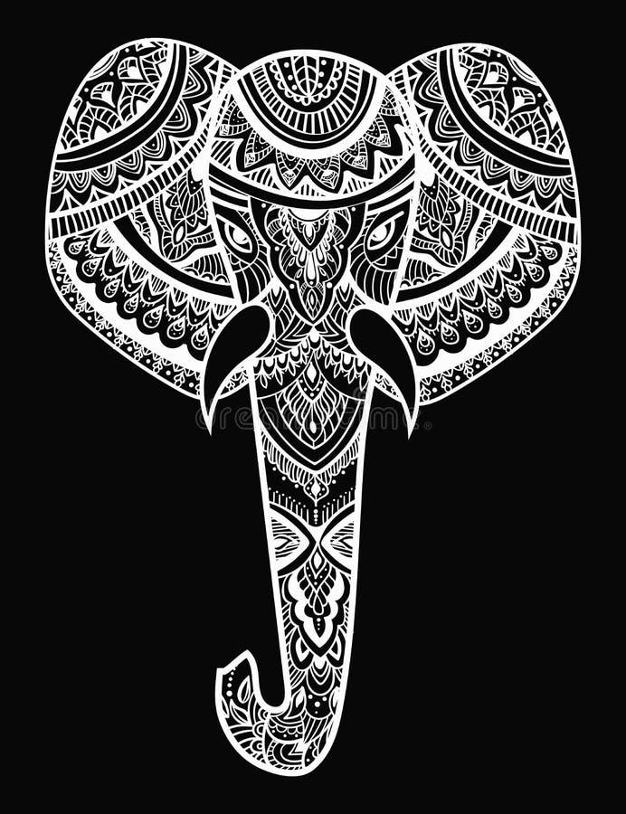 Стилизованная голова слона Орнаментальный портрет слона Черно-белый чертеж индийско мандала вектор бесплатная иллюстрация