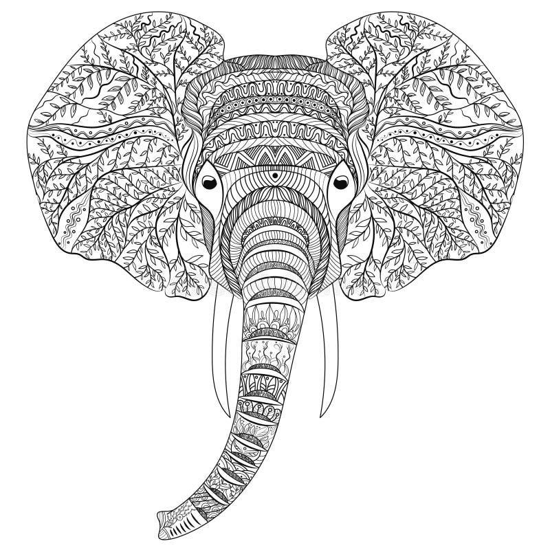 Стилизованная голова слона Орнаментальный портрет слона Черно-белый чертеж индийско мандала вектор иллюстрация штока
