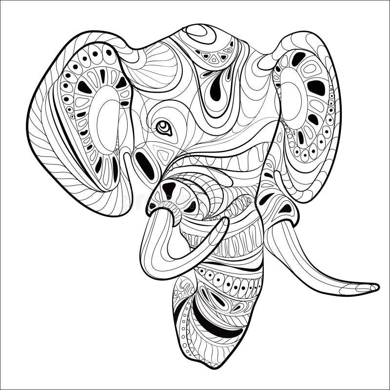 Стилизованная голова слона Орнаментальный портрет слона Черно-белый чертеж индийско мандала вектор иллюстрация вектора